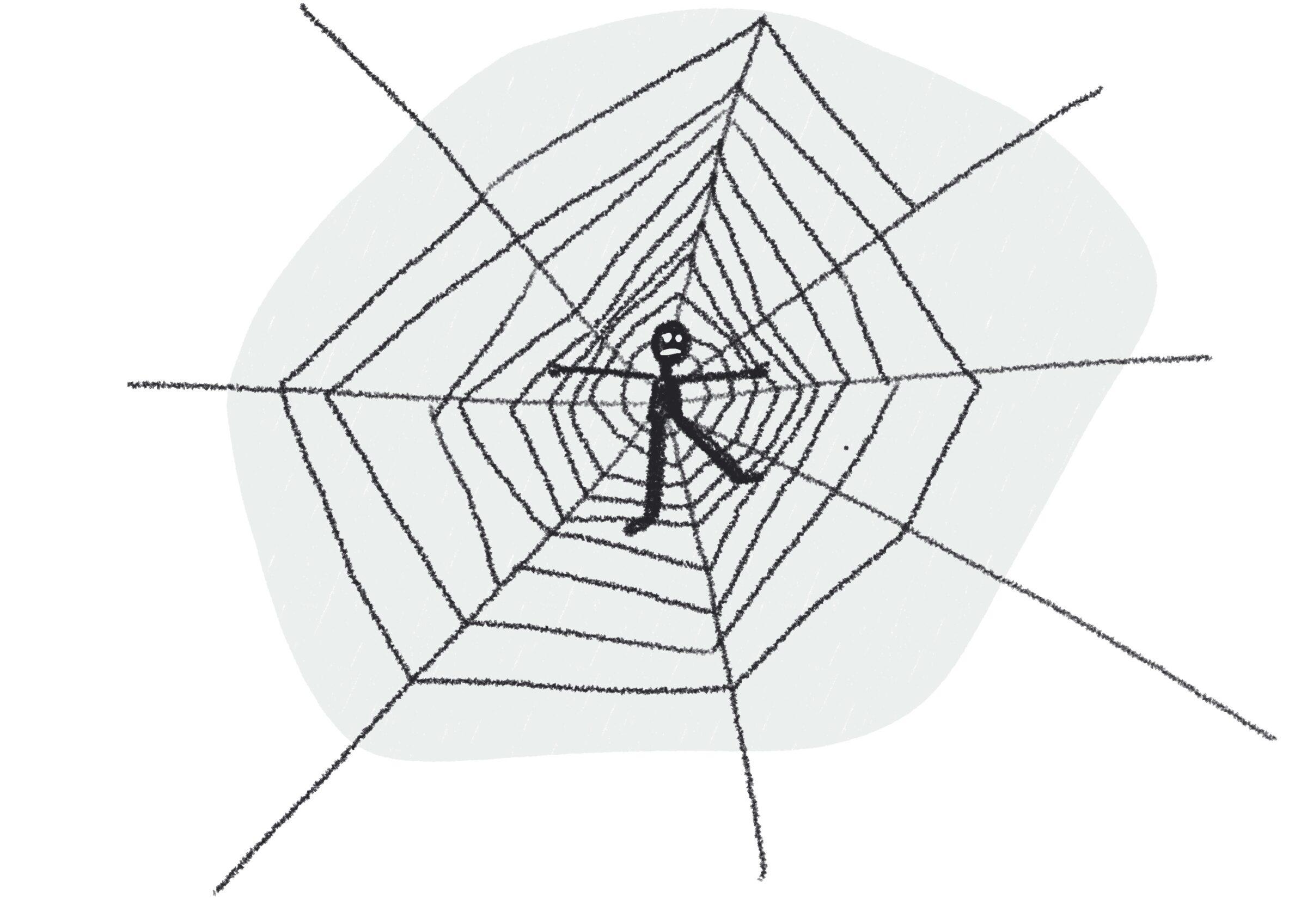 Jongere die in een spinnenweb verstrikt is