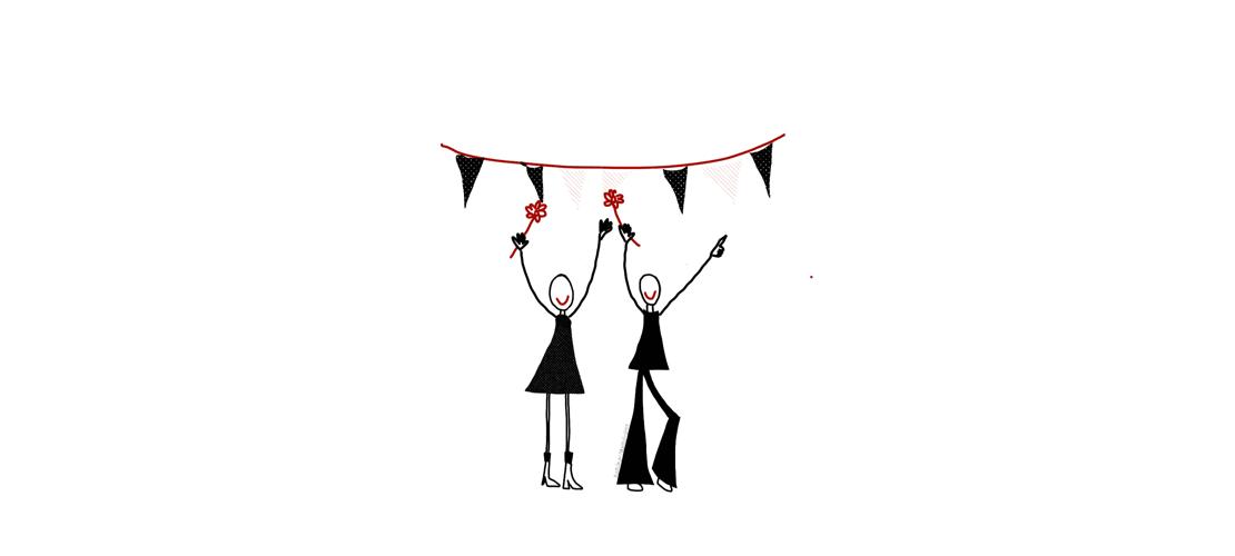 Twee getekende vrouwen met bloemen in hun hand en slingers boven hun hoofden