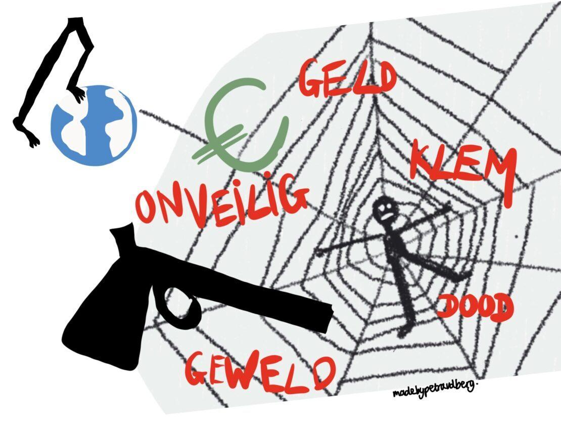 Tekening van man gevangen in spinnenweb en in het rood geschreven: klem, geld, onveilig, dood, geweld. En in het zwart een wapen in het groen een euro teken. Daarnaast uitgebeeld: als je in de wereld stapt van de criminaliteit.